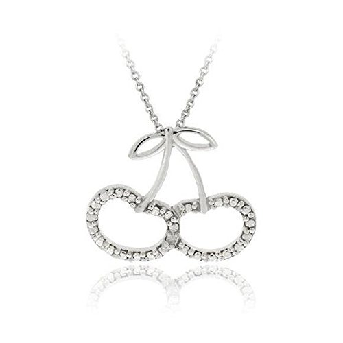 Sterling Silver Simulated Diamond Accent Cherries Slide Pendant, 18'' ()