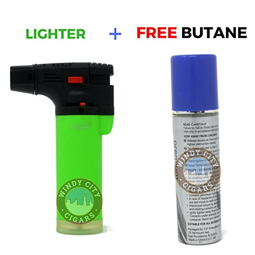 Eagle NEON 4in Torch Jet Blow Lighter with Safety Lock & Adjustable Flame (Butane Included) ()