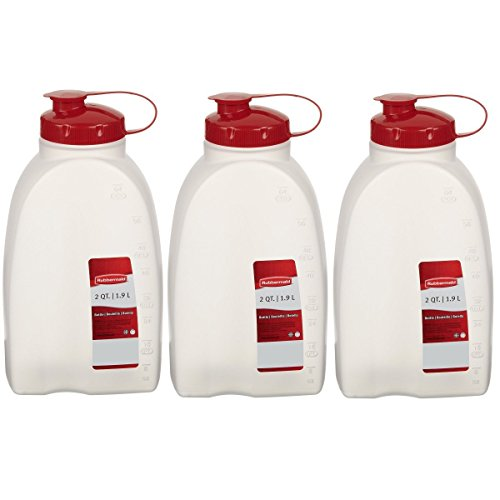 Rubbermaid - Servin Saver White Bottle, Plastic, 2 Qt./1.9 Lt (Pack of 3)