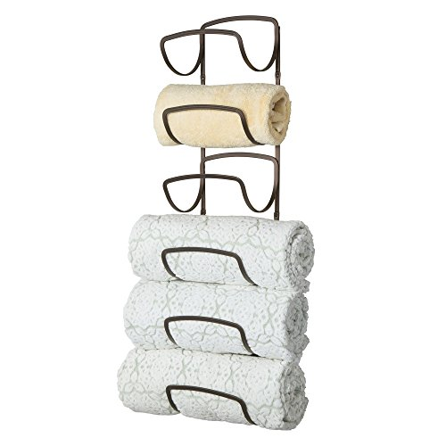 Bathroom Hanging Vanity (mDesign Modern Decorative Six Level Bathroom Towel Rack Holder & Organizer, Wall Mount - for Storage of Bath Towels, Washcloths, Hand Towels - Bronze)