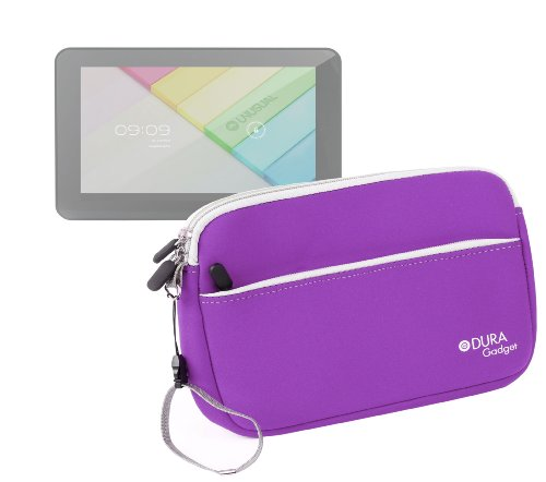DURAGADGET Purple Neoprene Cover with Front Storage Pocket - Suitable for Dell Venue 8, GoClever Terra 90 / TAB I921, TabletExpress Allwinner A20 & DMG T909 Tablets