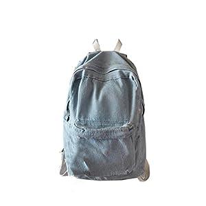 Leegor Unisex Casual Vintage Denim Travel Backpack School bag Rucksack Shoulder Bag (Light Blue)