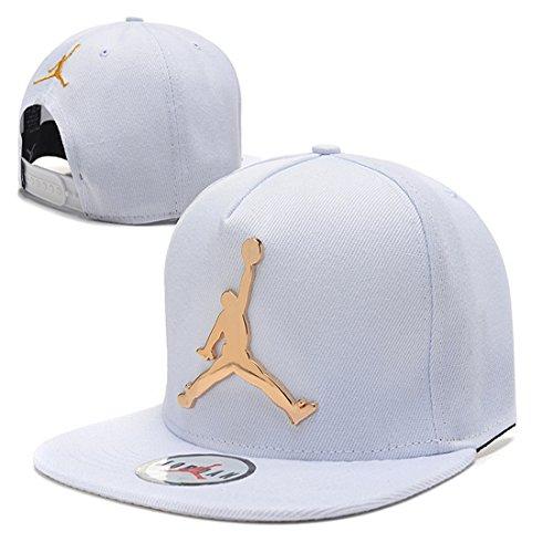 Jordan Iron standard hip-hop Cap NBA basketball Adjustable Hat White 2 One (Jordan Mens Hat)