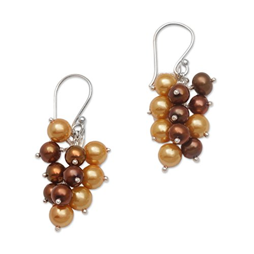 (NOVICA Dyed Golden Cultured Freshwater Pearls .925 Silver Cluster Earrings 'Gleaming Fruit')