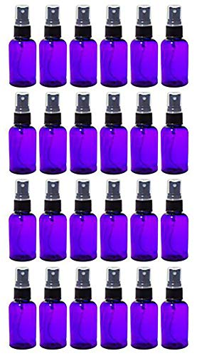 Purple 2 oz Boston Round PET Bottles BPA Free with Black Fine Mist Sprayer 24 Pack