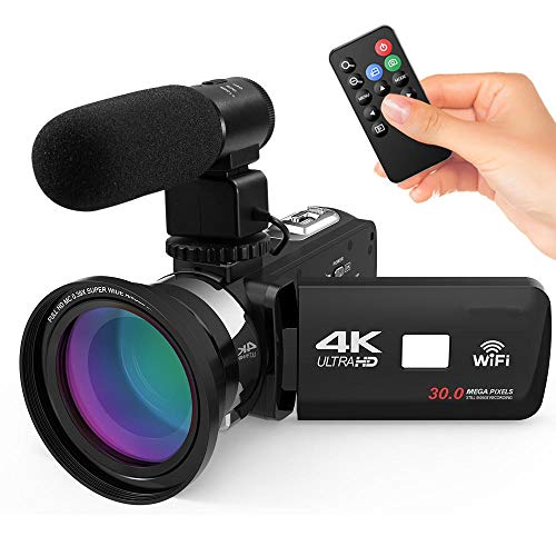 4K Ultra HD WiFi Digital Video Camera Camcorder DV Recorder + External Microphone + 0.39X Wide Angle Lens