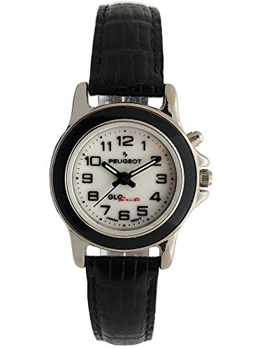 Peugeot Womens Glow in The Dark Wrist Watch with Leather Strap & Easy Reader Arabic Numerals