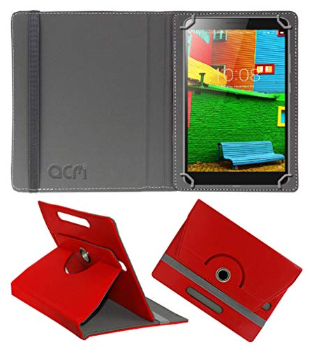 Acm Rotating Leather Flip Case Compatible with Lenovo Phab 6.98 Pb1 750M Tablet Cover Stand Red