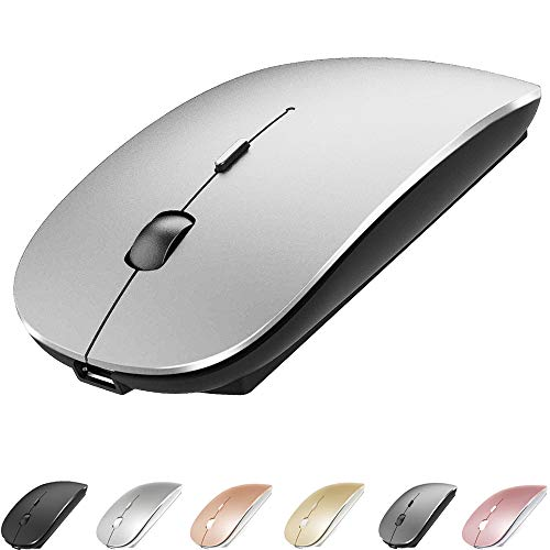 Bluetooth Mouse for MacBook pro/MacBook air/Laptop/iMac/ipad, Wireless Mouse for MacBook pro MacBook Air/iMac/Laptop/Notebook/pc (Bluetooth Mouse/Silver Black)