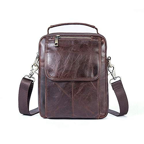 LCLiang Mens Business Bag Genuine Leather Cowhide Mens One-Shoulder Small Bag Color : Oil Coffee