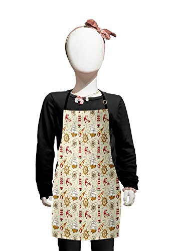 Lunarable Nautical Kids Apron, Trip Around the World Pattern with Spyglass Old Fashioned Boat Windrose, Boys Girls Apron Bib with Adjustable Ties for Cooking Baking and Painting, Ivory Red Pale Coffee