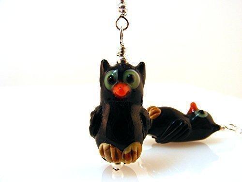 Owl Earrings Halloween Jewelry Black Lampwork Glass