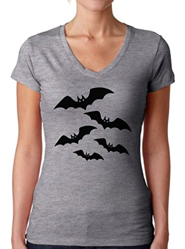 Bat Woman Halloween Costume Ideas (Awkward Styles Women's Halloween Bats V-neck T shirts for Women Halloween Bats Costume Idea Grey 2XL)
