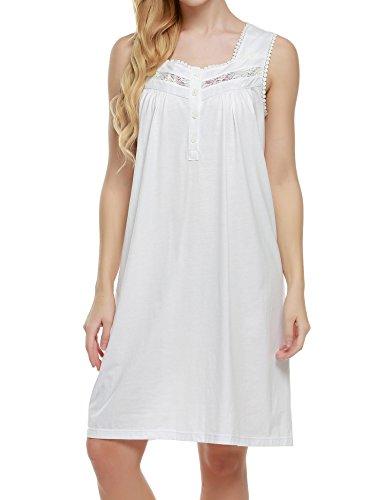 Short Loungewear Gowns - Ekouaer Loungewear Women's Comfort Short Lingerie Gown Sleepwear (White, Medium)