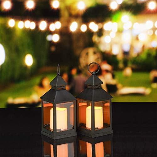 Relaxdays Set de Dos faroles LED de jardín, Vela con Efecto de Llamas, Iluminación de Exterior, Colgante o de pie, 23 cm, Negro: Amazon.es: Jardín