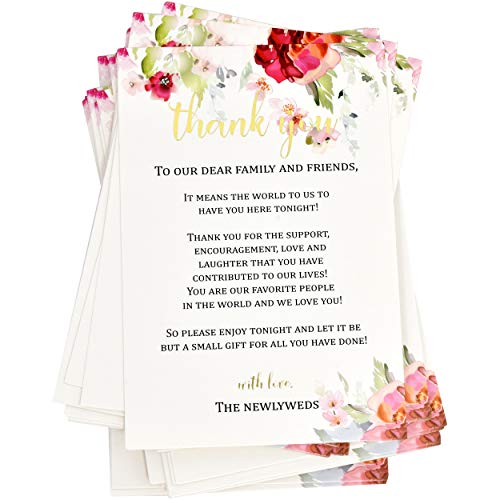 "50 Floral Wedding Thank You Place Setting Cards 4"" X 6"" with Elegant Gold Foil Mr. and Mrs. Placement Settings Card Notes For Bride & Groom Guest Table Centerpieces Weddings Reception Decorations"