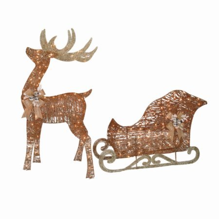 Light-Up Rattan-Look Buck and Sleigh, 52'' Buck, 42'' Sleigh