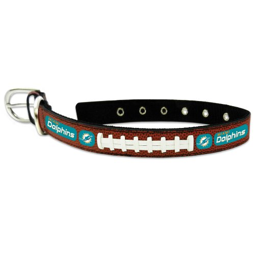 NFL Miami Dolphins Classic Leather Football Collar, Medium