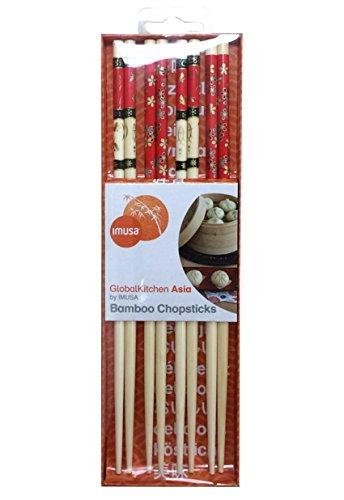 IMUSA USA GK-61038 Bamboo Chopsticks with Red Design 8-Piece