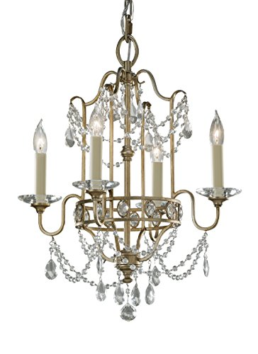- Feiss F2476/4GS Gianna Crystal Candle Chandelier, 4-Light, 240watts, Gilded Silver (16