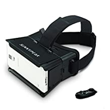 SUNNYPEAK Google Cardboard Virtual Reality VR Headset 3D Video Game Glasses with Adjustable Focal Distance Pupil Distance QR Code for iPhone Samsung Nexus HTC Moto LG + Bluetooth Remote (Black)