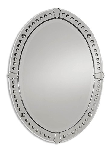 Etched Venetian Glass Framed Oval Vanity Mirror | Romantic Wall Tulip Frame Wall Mirror