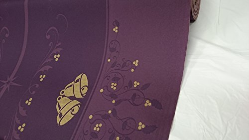 Thali Outlet - XMAS Purple Gold Bells Airlaid Tablin Banquet Roll (Linen Feel) Table Cover - 40m x 1.2m - Wedding Parties Birthdays Special Occasions Barque by Thali Outlet - Shopping Outlet Leeds