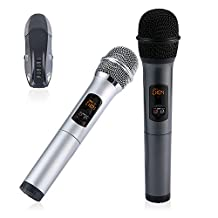 Umiwe Wireless Handheld Microphone, Portable UHF Karaoke Microphone System Moving Coil Mic Machine for Home KTV, Outdoor Wedding, Conference