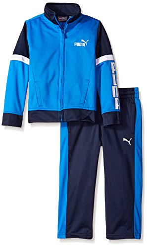 PUMA Boys' Toddler Tricot Track Jacket and Pant Set, Blue Stripe, 3T ()