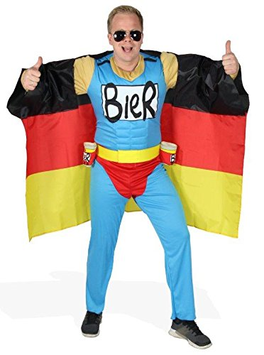 Das Deutschland Fussball Fan Kostum Biermann Comic Helden Kostum Fur Richtige Fans Grosse S Xxl Wm 2022 Em 2020 Fanartikel Party Flagge Germany