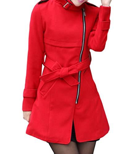 Jacket Zip Wool Boiled - Abetteric Women Trench Coat Jacket Fall Winter Side Zip Fitted Belt Top Coat Red L