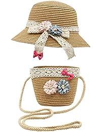 Bienvenu Straw Hats Kids Sun Hats Summer Beach Hats Straw with Pocket Bag Set,Hat Bag Set_Khaki