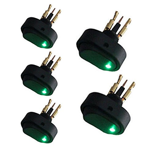 XT AUTO 30 Amp 12 Volt Green LED ON-OFF Rocker Switch Toggle Triangle Plug Switch For Car Motorcycle Boat Marine 5-pack