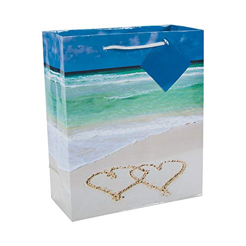 Fun Express - Wedding Beach Gift Bags for Wedding - Party Supplies - Bags - Paper Gift W & Handles - Wedding - 12 -