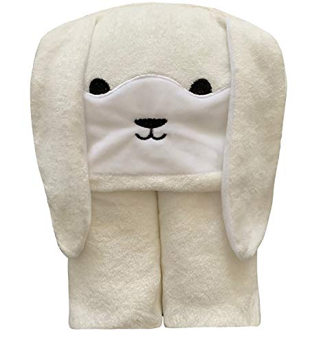 Organic Bamboo Baby Hooded Towel with Bonus Wash Glove | Ultra Soft and Super Absorbent Toddler Hooded Bath Towel with Cute Bunny Face Design | Great Infant/Newborn Shower Present for Boy or Girl