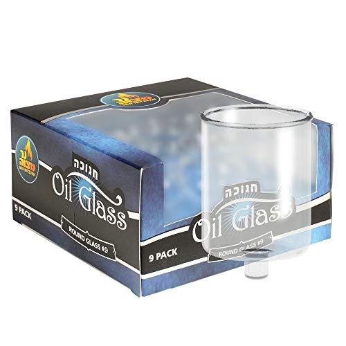 - Ner Mitzvah Hanukkah Menorah Glass Oil Cups - Elegant Holders for Oil for Shabbos and Chanukah - Durable Quality, Long-Lasting - (9 Pack)