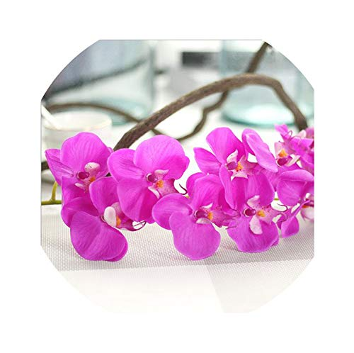 Vicky 10 Heads 72Cm Artificial Flower Phalaenopsis Latex Silicon Real Touch Big Orchid Orchidee Wedding Home Decoration,Dark Purple