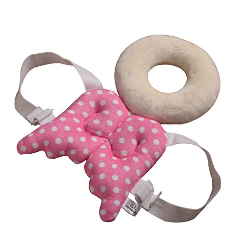 OLizee Upgraded Cute Baby Toddler Head Back Protector Safety Equipment Wing with Front Strap(Pink)