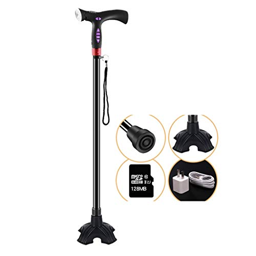 TDM Elderly Crutches, with Manual Sound and Light Alarm System, Lightweight, Non-Slip, Telescopic, with ()