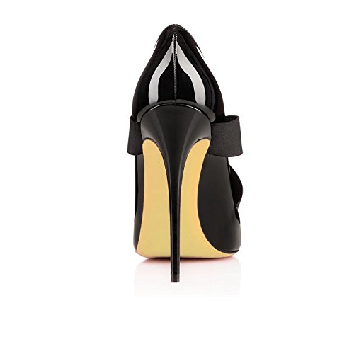 Toe Fashion AIWEIYi Pump Womens Dress Slip Shoes Ladies Black Shoes High On Patent Heel Pointed Classic 5Y5TncP