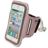 iGadgitz Pink Reflective Anti-Slip Neoprene Sports Gym Jogging Armband for Apple iPhone SE, 5S, 5, 5C