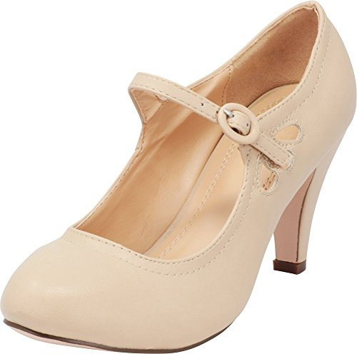 Cambridge Select Women's Round Toe Mid Heel Mary Jane Dress Pump (11 B(M) US, Nude) -