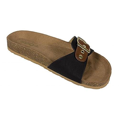 d73f7bda40fb0 high-quality Soda Women s Larch Open Toe Buckle Strap Madrid Lightweight  Sandal in Black Tan