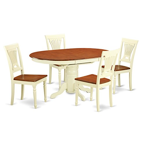 5 Pc Dining room set-Oval dinette Table with Leaf and 4 Dining Chairs.