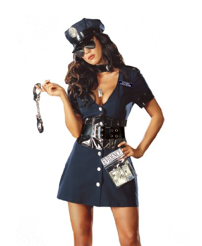 [Dreamgirl Women's Corrupt Cop Costume,Navy,Small] (Costumes For Women Cop)