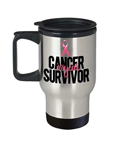 (10-Year Cancer Survivor Travel Mug - Pink ribbon Breast Cancer Survivor Mug)