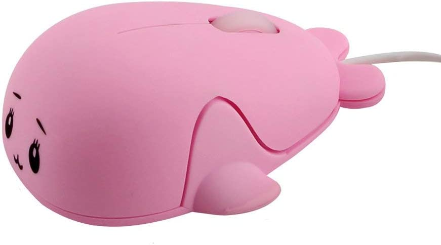 Fashionable Cute Animal Baby Dolphin Shape USB Wired Mouse 1600 DPI Optical Mice Mini Small Kids Children Mice for PC Laptop Computer (Pink)