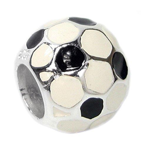 Sterling silver Football Soccer Enamel European Style Bead Charm