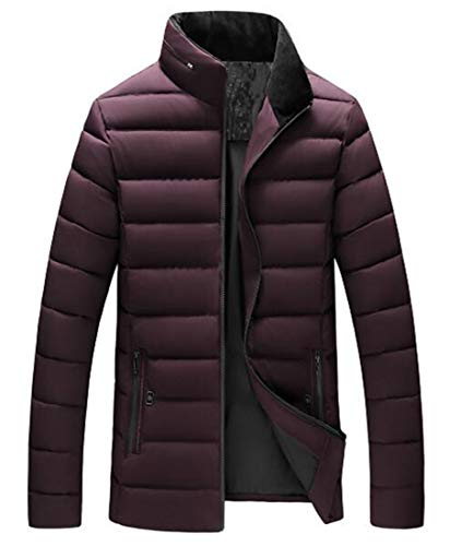 Men Wine Collar Red Ultra Light Weight Packable Jacket Down Short Casual MU2M Stand SqdPS