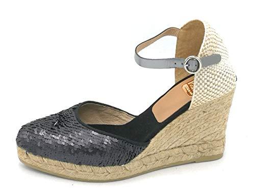 Kv6091 Zeppa Con Nero Bianco Paillettes Pelle Kanna Cinturino Colore Scarpa Taglia 38 Sandalo Media dx0qnn6a8